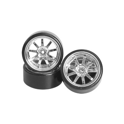 3Racing 1/10 9 Spoke Wheel & Tyre Set for Drift (Chrome, 4 pcs) 26mm/+5