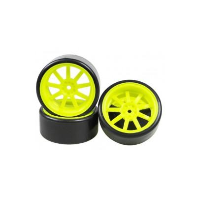 3Racing 1/10 9 Spoke Wheel & Tyre Set for Drift (Fluor Yellow, 4 pcs) 26mm/+5