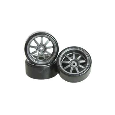 3Racing 1/10 9 Spoke Wheel & Tyre Set for Drift (Grey, 4 pcs) 26mm/+5