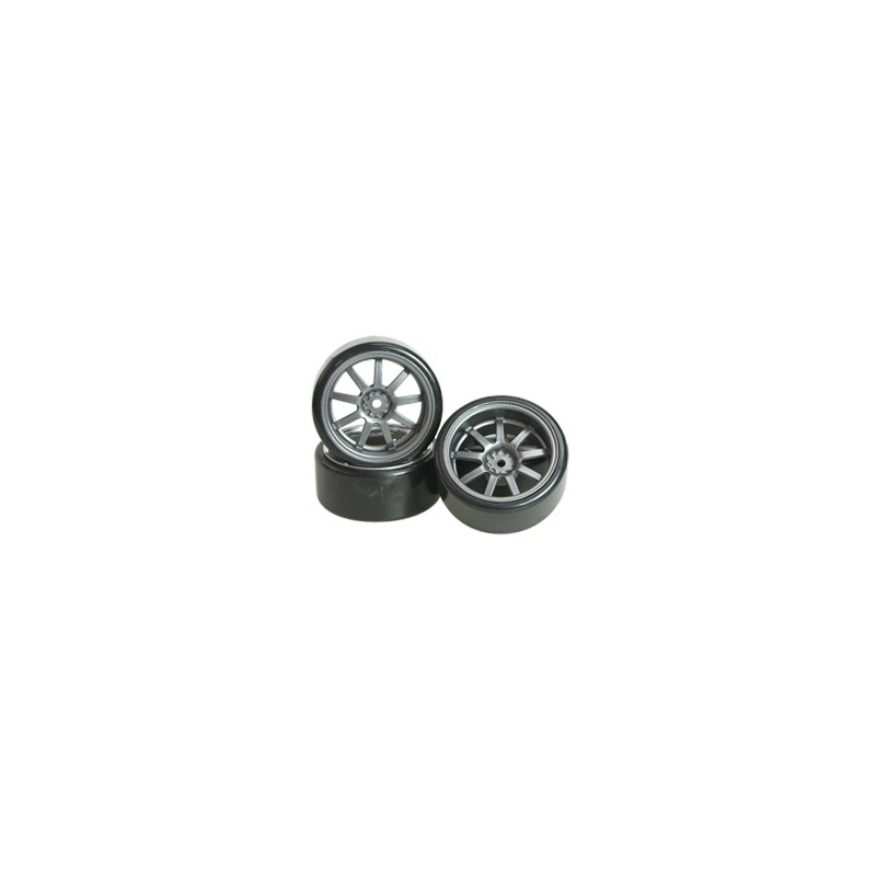 3Racing 1/10 9 Spoke Wheel & Tyre Set for Drift (Grey, 4 pcs) 26mm/+7