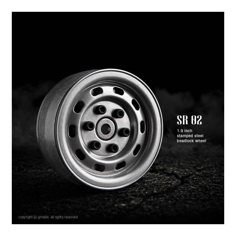 Gmade 1.9 SR02 Steel Beadlock Wheels (Semigloss Silver, 2 pcs)