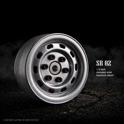 Gmade 1.9 SR02 Steel Beadlock Wheels (Semigloss Silver, 2 pcs)