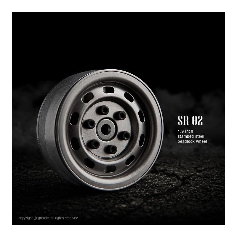 Gmade 1.9 SR02 Steel Beadlock Wheels (Uncoated Steel, 2 pcs)