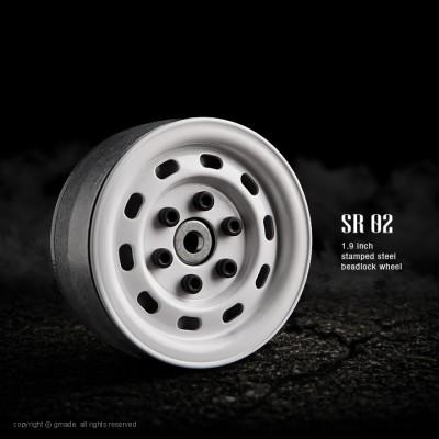 Gmade 1.9 SR02 Steel Beadlock Wheels (White, 2 pcs)