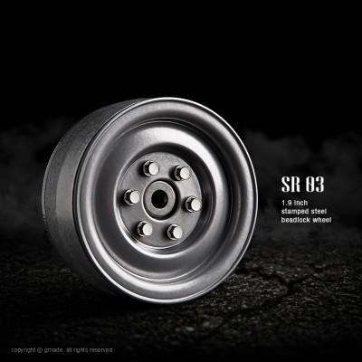 Gmade 1.9 SR03 Steel Beadlock Wheels (Semigloss Silver, 2 pcs)