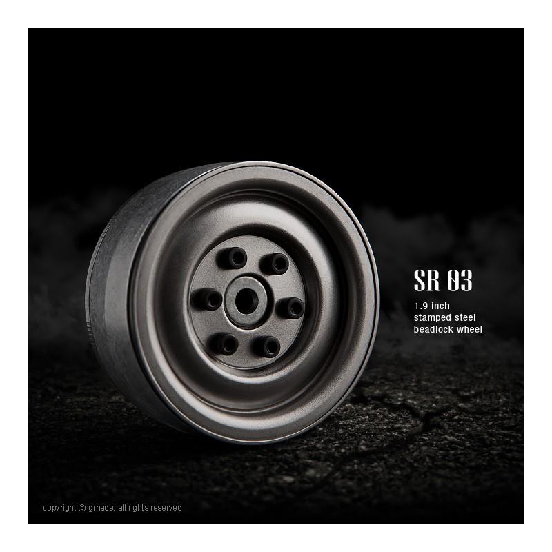 Gmade 1.9 SR03 Steel Beadlock Wheels (Uncoated Steel, 2 pcs)