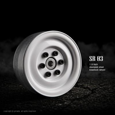 Gmade 1.9 SR03 Steel Beadlock Wheels (White, 2 pcs)