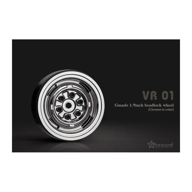 Gmade 1.9 VR01 Beadlock Wheels (Chrome, 2 pcs)