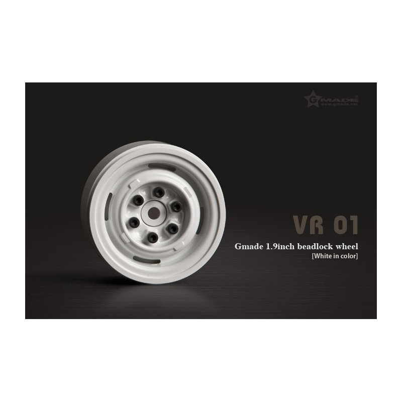 Gmade 1.9 VR01 Beadlock Wheels (White, 2 pcs)
