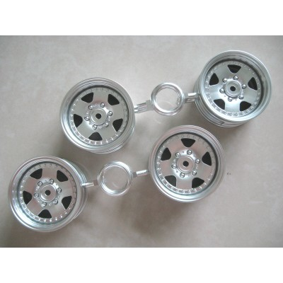 Tamiya Mitsubishi Pajero 5-Spoke Wheels (Chrome, 4 pcs) 26mm