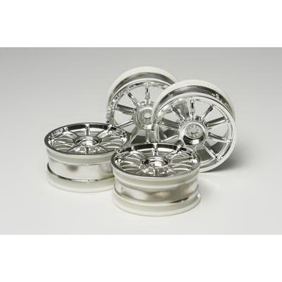 Tamiya 10-Spoke Wheels (Chrome, 4 pcs) 24mm