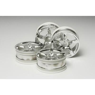 Tamiya 5-Spoke Wheels (Chrome, 4 pcs) 24mm