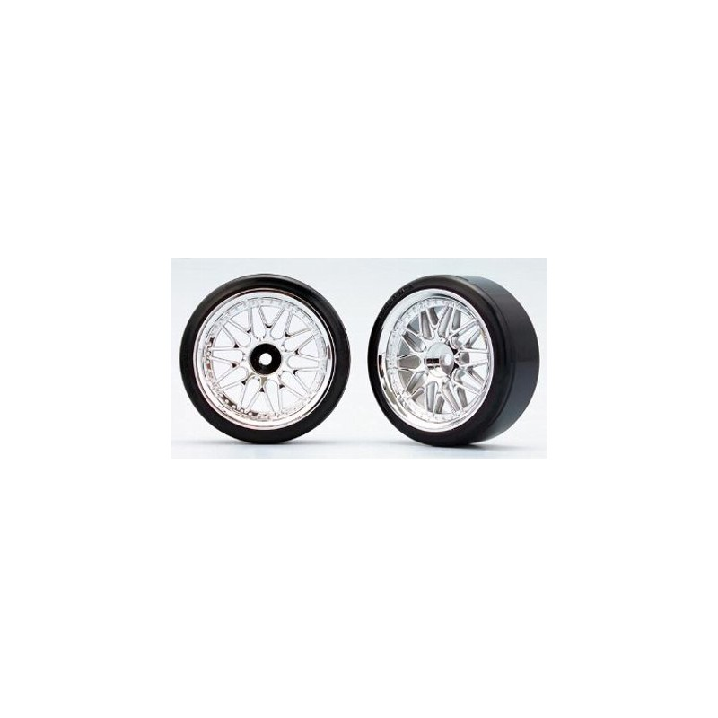 Yokomo 10-Spoke Mesh Wheels w/ Zero-Two Drift Tires (2 pcs) 26 mm