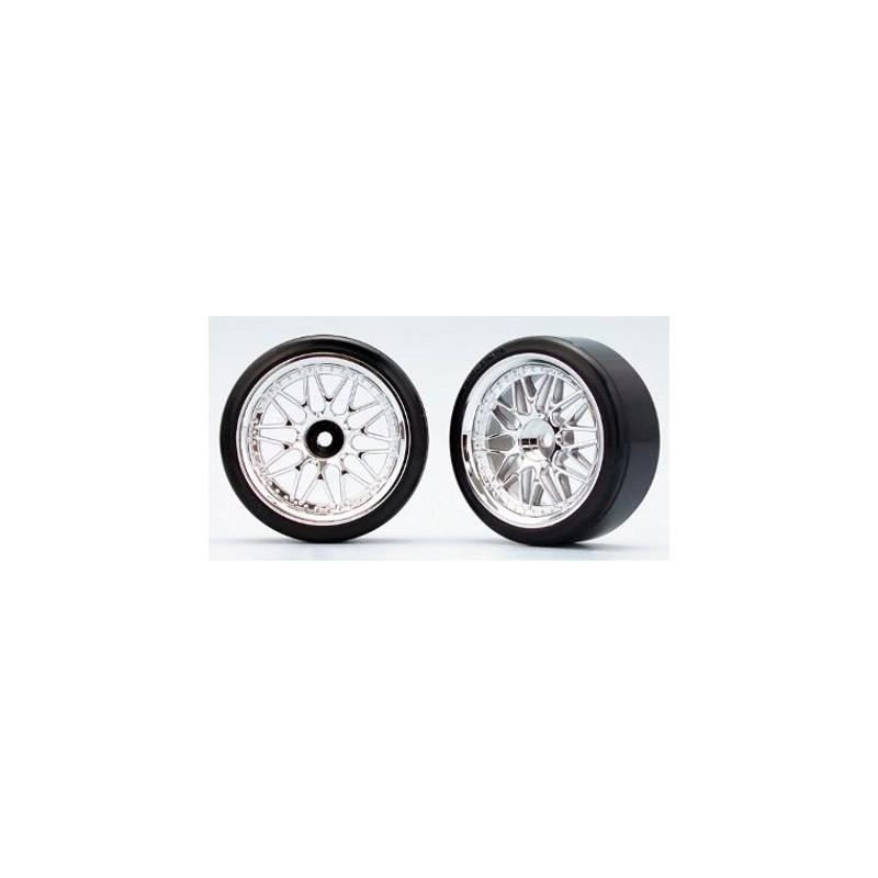 Yokomo 10-Spoke Mesh Wheels w/ Zero-Two Drift Tires (2 pcs) 26 mm