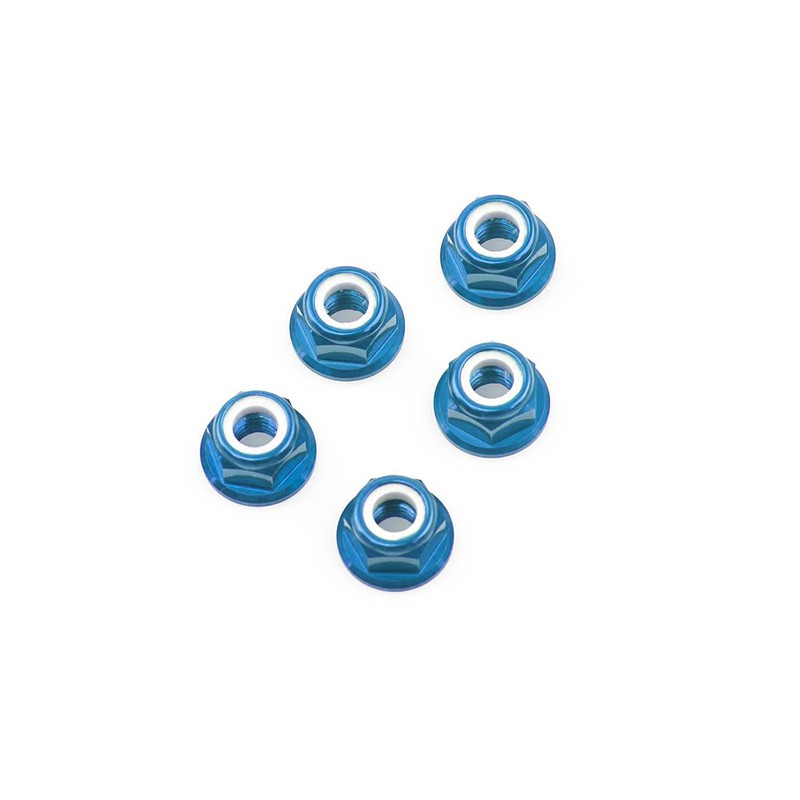 Tamiya Aluminum Flanged Locknuts 4mm (Blue, 5 pcs)