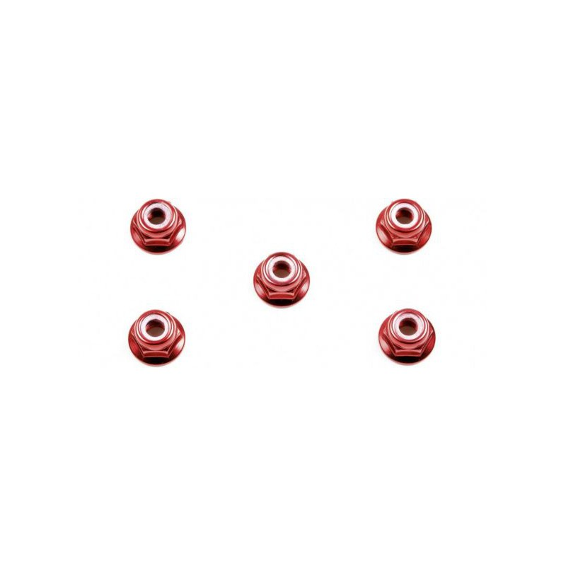 Tamiya Aluminum Flanged Locknuts 4mm (Red, 5 pcs)