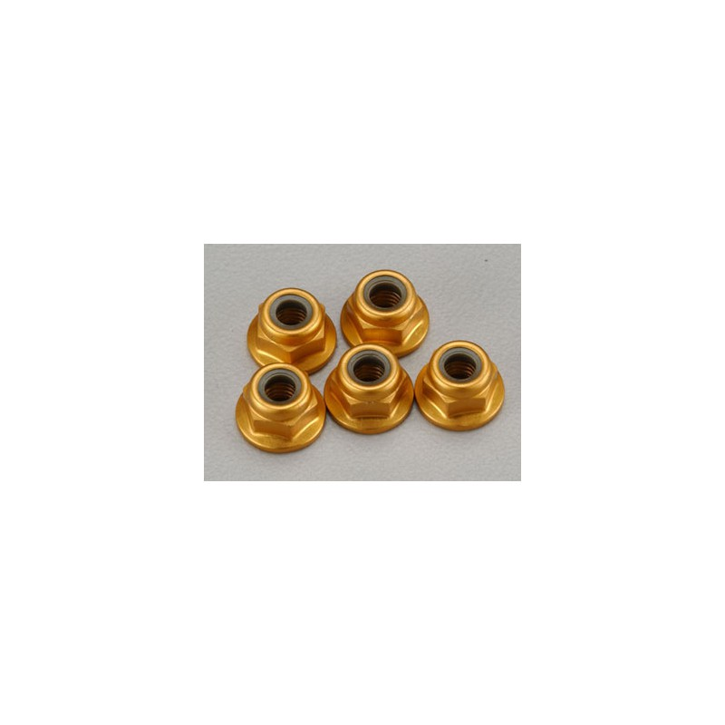 Tamiya Aluminum Flanged Locknuts 4mm (Gold, 5 pcs)