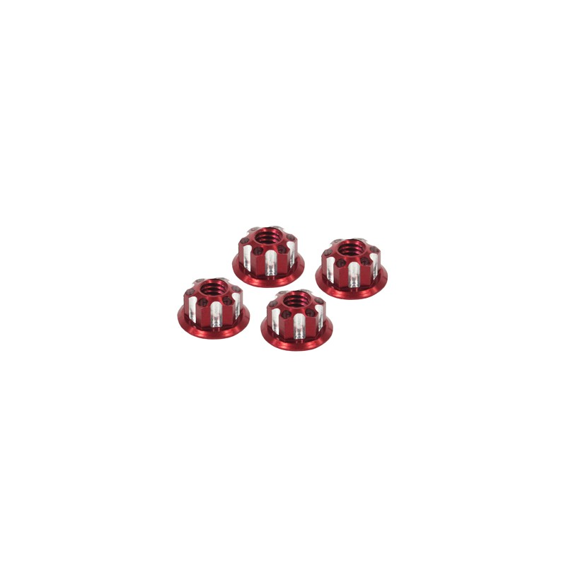 Eagle Racing SP Scale Wheel Nut 4mm (Type 1, Red, 4 pcs)