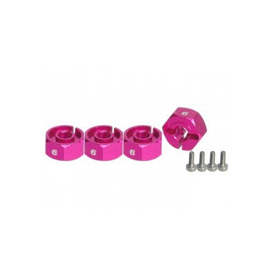 3Racing 12mm Wheel Adaptor (4 pcs, 6mm thick, Pink) for 1:10 Cars
