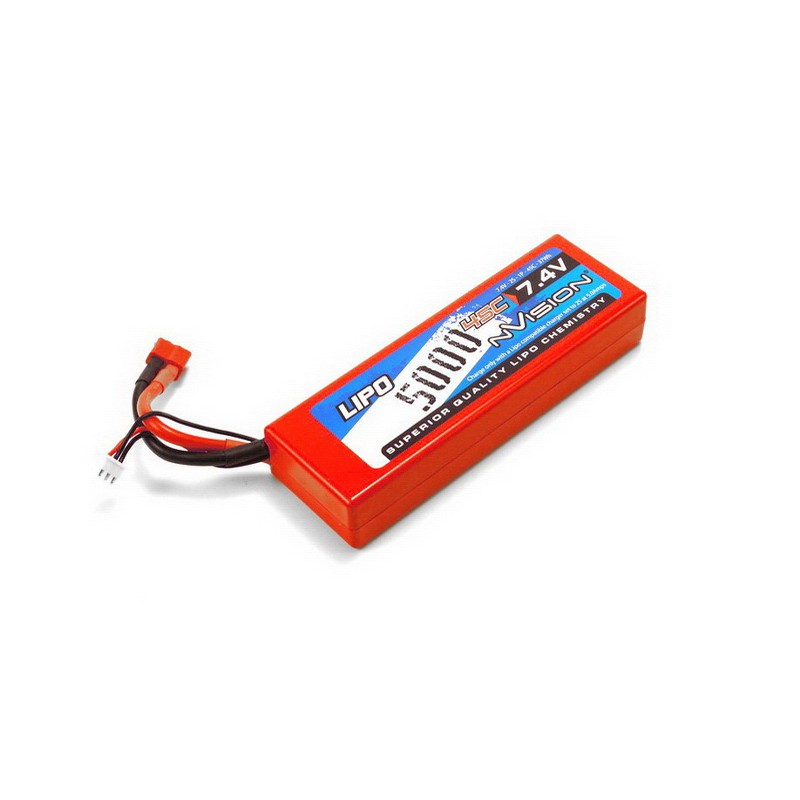 nVision Li-Po 5000mAh 45C 7.4V 2S (Deans T-Plug, Hard Case) Pack